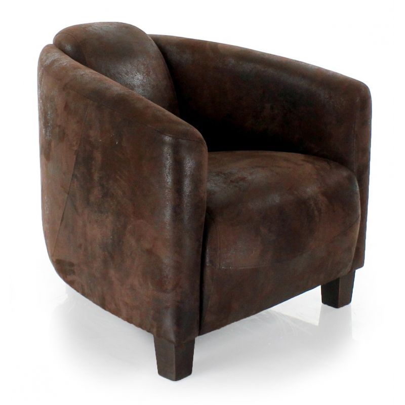 fauteuil club tissu chocolat op ra saulaie. Black Bedroom Furniture Sets. Home Design Ideas