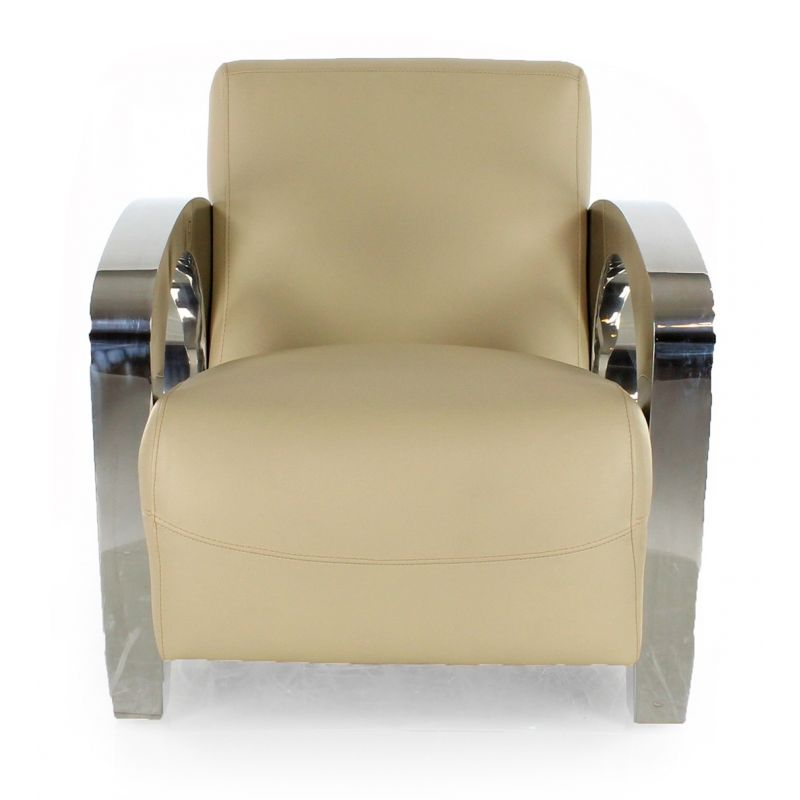Beige leather club chair - Beaubourg