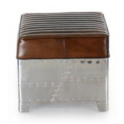 Aviator Square Pouf, Vintage Brown Leather and Aluminium
