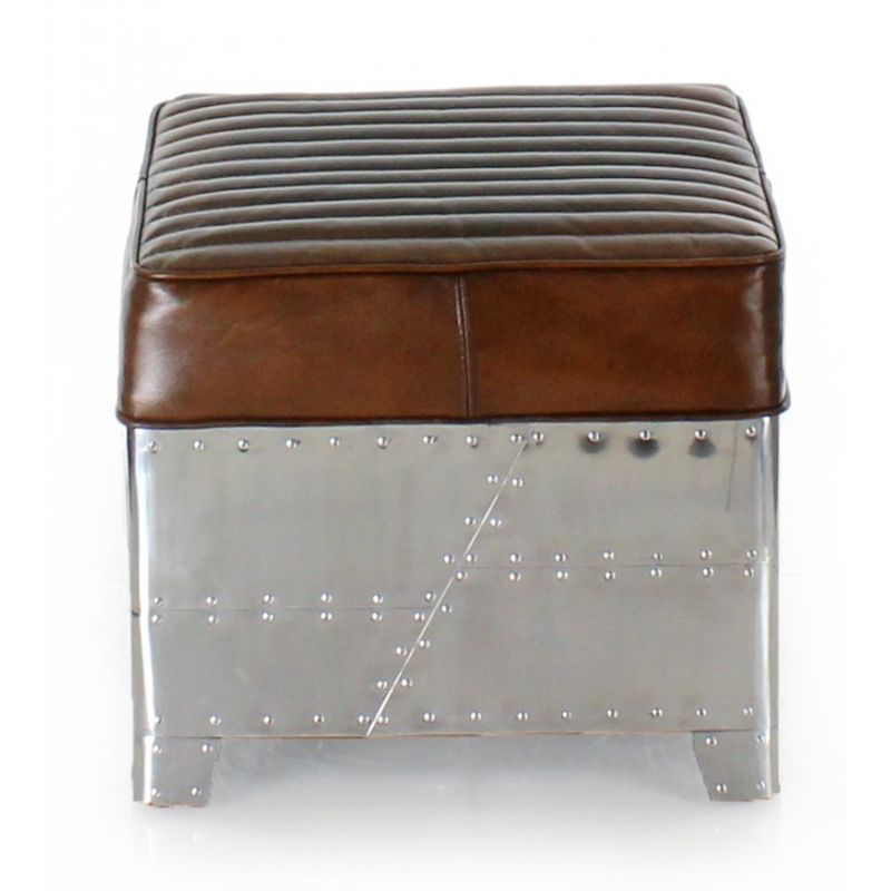 Aviator square vintage brown leather and aluminum pouf