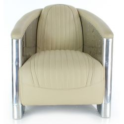 Beige leather club chair - Aviator