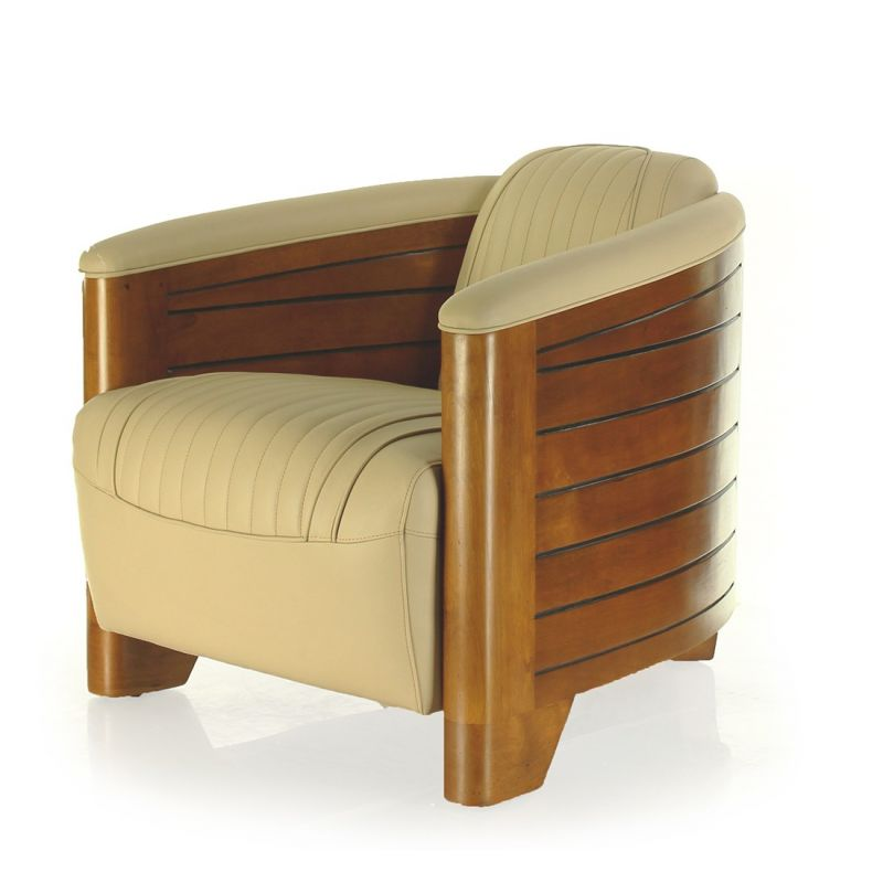 fauteuil club cuir beige pirogue saulaie. Black Bedroom Furniture Sets. Home Design Ideas