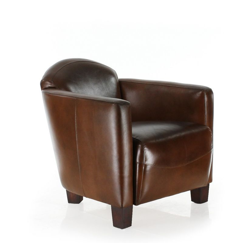 Vintage brown leather club armchair - Maltis