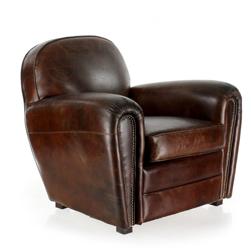 fauteuil cuir marron vintage havane saulaie. Black Bedroom Furniture Sets. Home Design Ideas