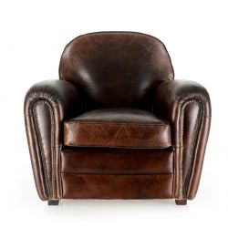 Easychair vintage brown leather - Havane