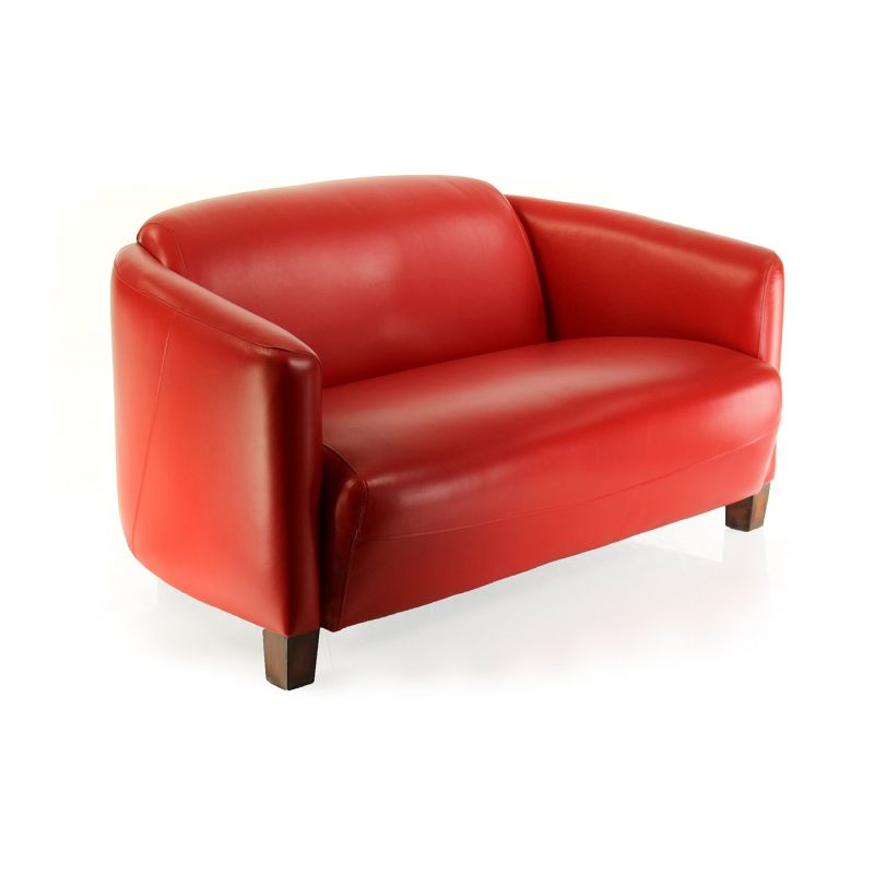 Red leather club sofa - Opéra