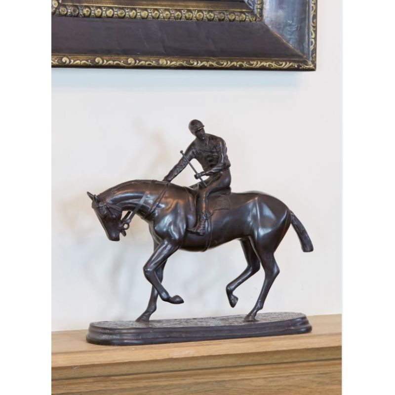 Horse in bronze with jockey