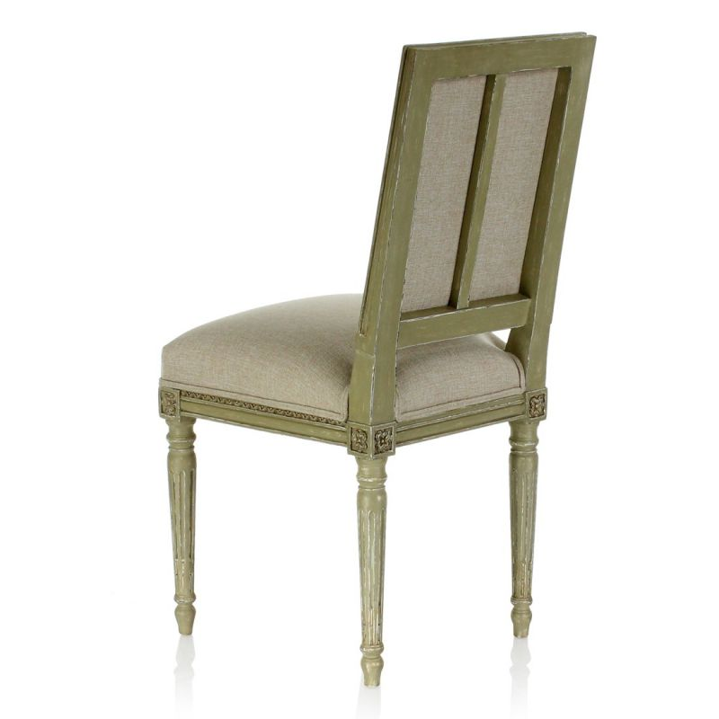 chaise louis xvi patin e tissu beige trianon saulaie. Black Bedroom Furniture Sets. Home Design Ideas
