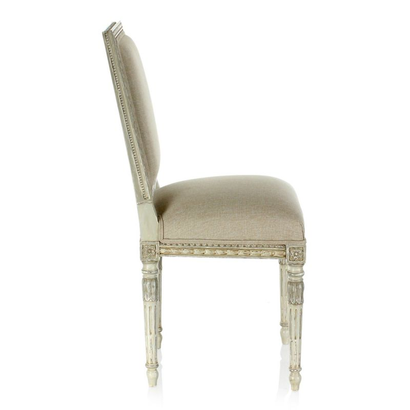 Louis XVI wooden and grey fabric chair