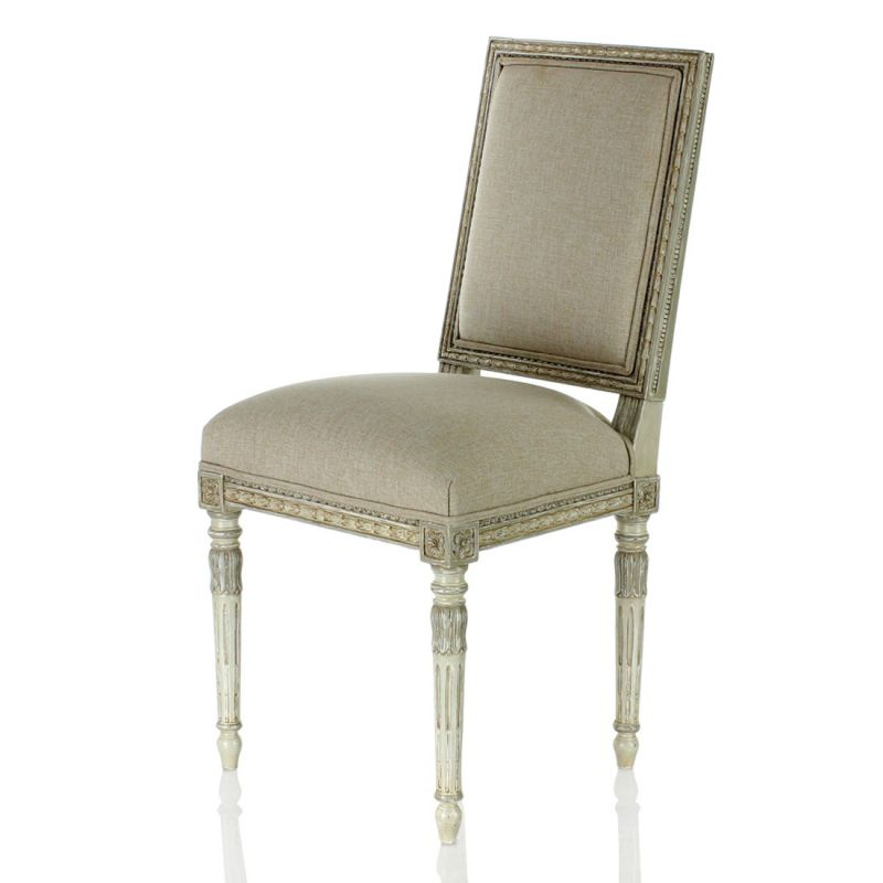 chaise louis xvi tissu beige marie antoinette saulaie. Black Bedroom Furniture Sets. Home Design Ideas