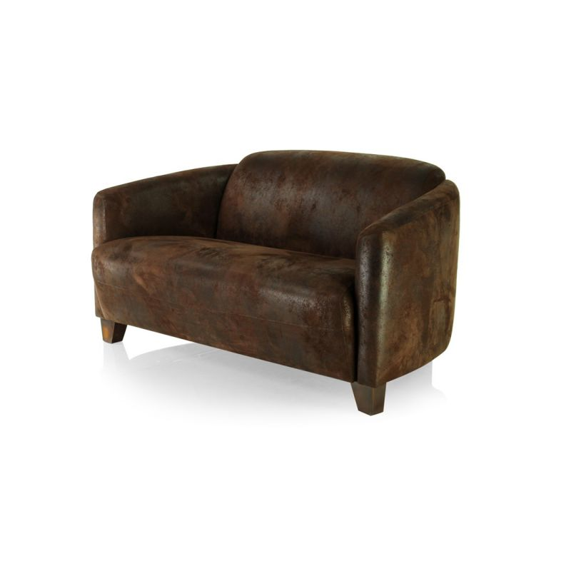 Chocolate brown fabric club sofa - Opéra