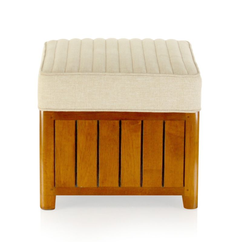 Square Beige Fabric Footstool - Perugia