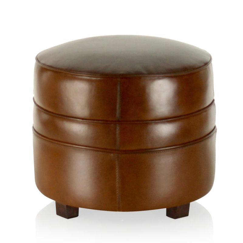 pouf cuir marron vintage rond op ra saulaie. Black Bedroom Furniture Sets. Home Design Ideas