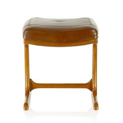 Vintage brown leather square stool - Ferdinand