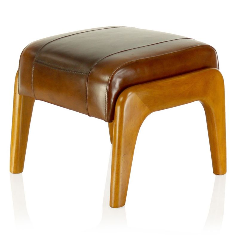 Wood and vintage brown leather pouf - Lund