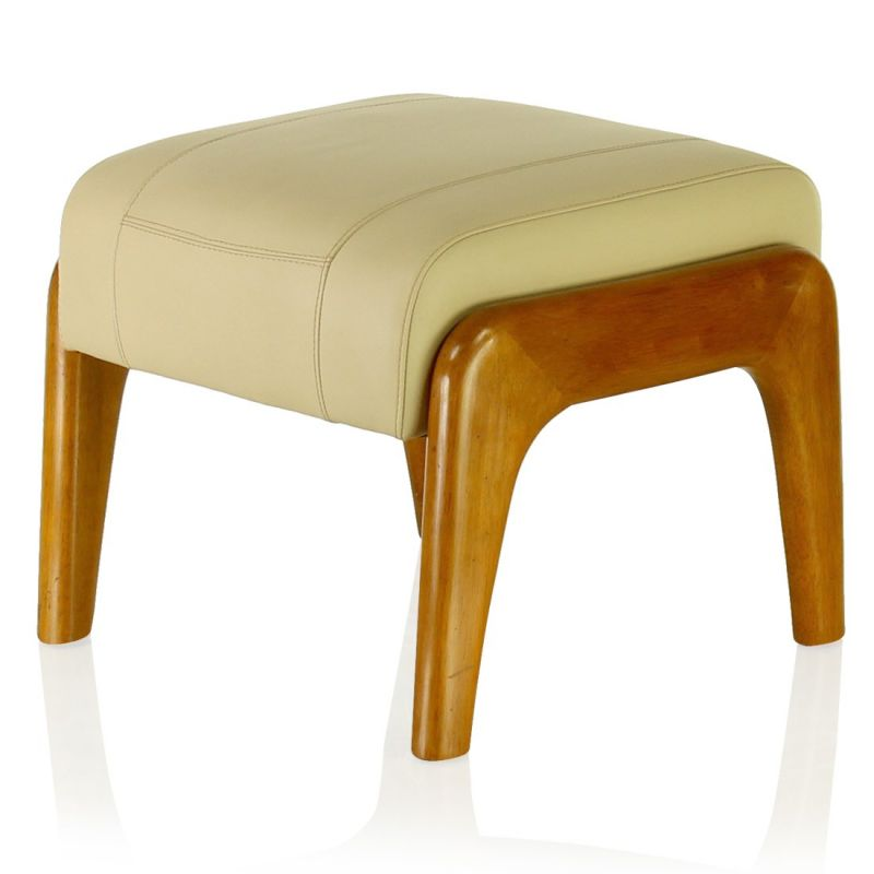 Wood and beige leather pouf - Lund