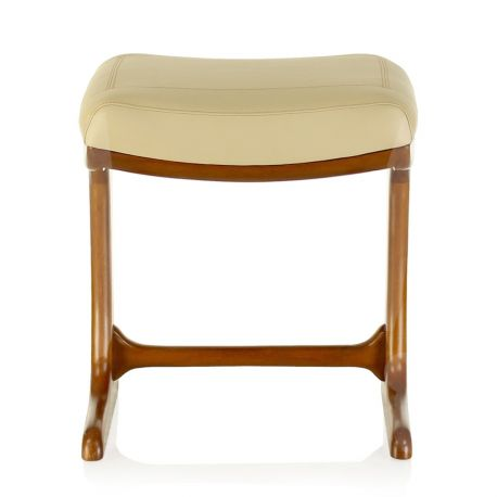 Beige leather square stool - Ferdinand