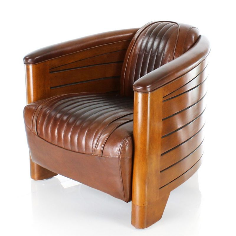 Vintage brown leather club armchair - Pirogue
