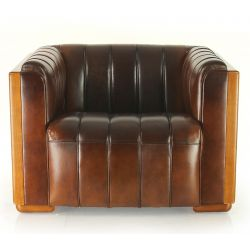 Brown vintage leather club chair - Belem