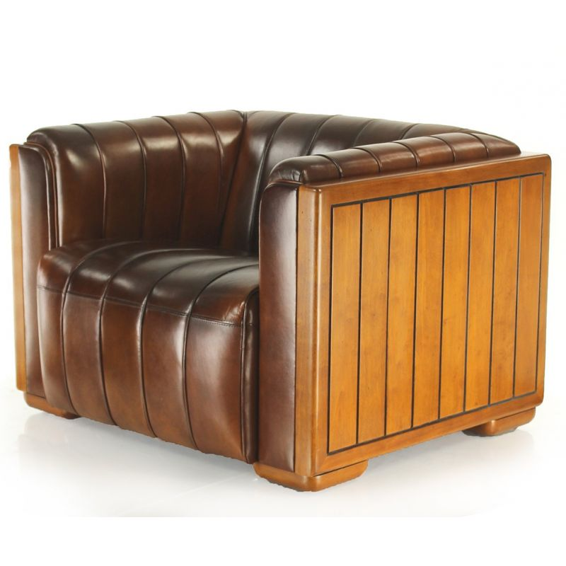 fauteuil club cuir marron vintage belem saulaie. Black Bedroom Furniture Sets. Home Design Ideas
