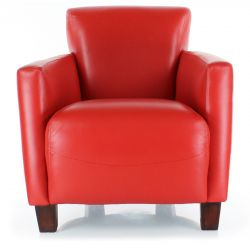 Red leather club armchair - Alma