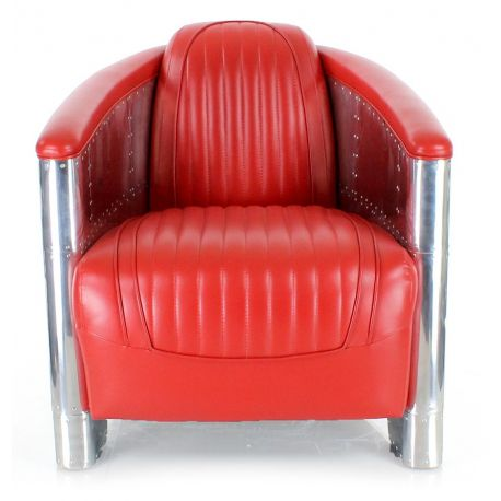 Fauteuil club cuir rouge aviator saulaie for Chaise cuir rouge