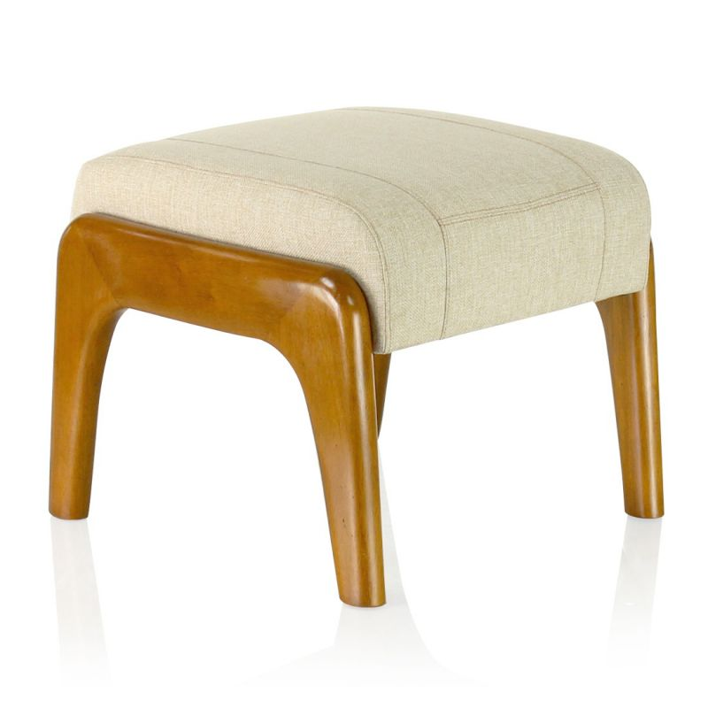 Wood and beige fabric pouf - Lund