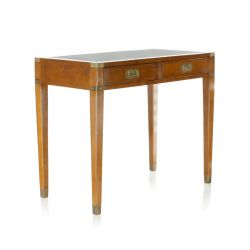 Officier Small Desk, Wood and Leather, 2 drawers