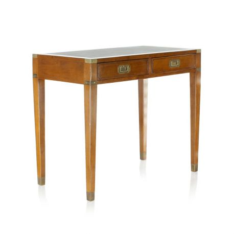 Small wood and leather desk - Officier, 2 drawers