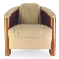 Beige Leather Club Chair - Pirogue