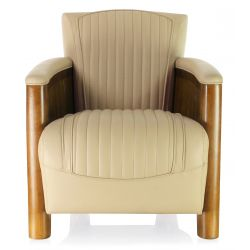 Beige leather club chair - Cognac