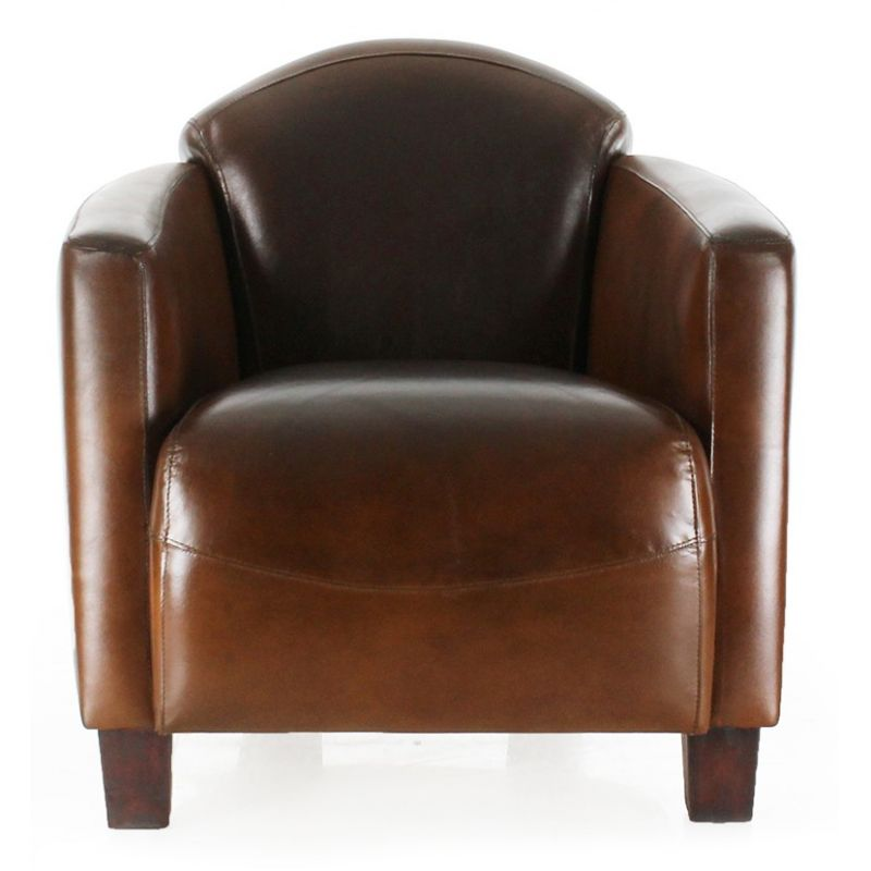 fauteuil club cuir marron vintage maltis saulaie. Black Bedroom Furniture Sets. Home Design Ideas