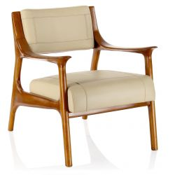 Beige leather armchair - Ferdinand