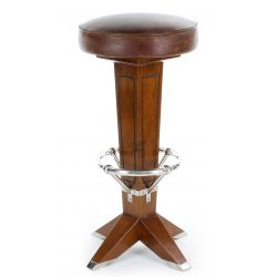 La Pérouse Wood and Vintage Leather Bar Stool