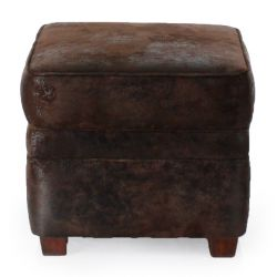 Chocolate brown fabric ottoman - Opera