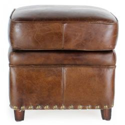 Vintage brown leather footstool - Middletown