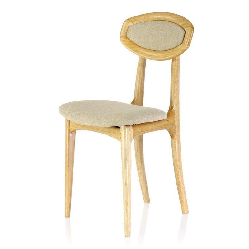 Wood and beige fabric chair - Ferdinand