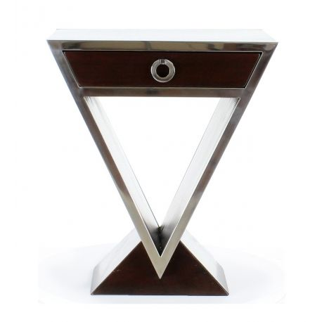 Table de chevet design marron foncé - Delta