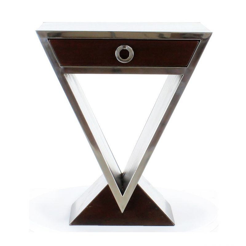 Table de chevet design marron fonc delta saulaie - Table de chevet verre ...