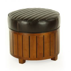 Round brown leather pouf - La Pérouse
