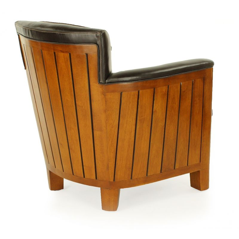 Brown leather club chair - Cognac