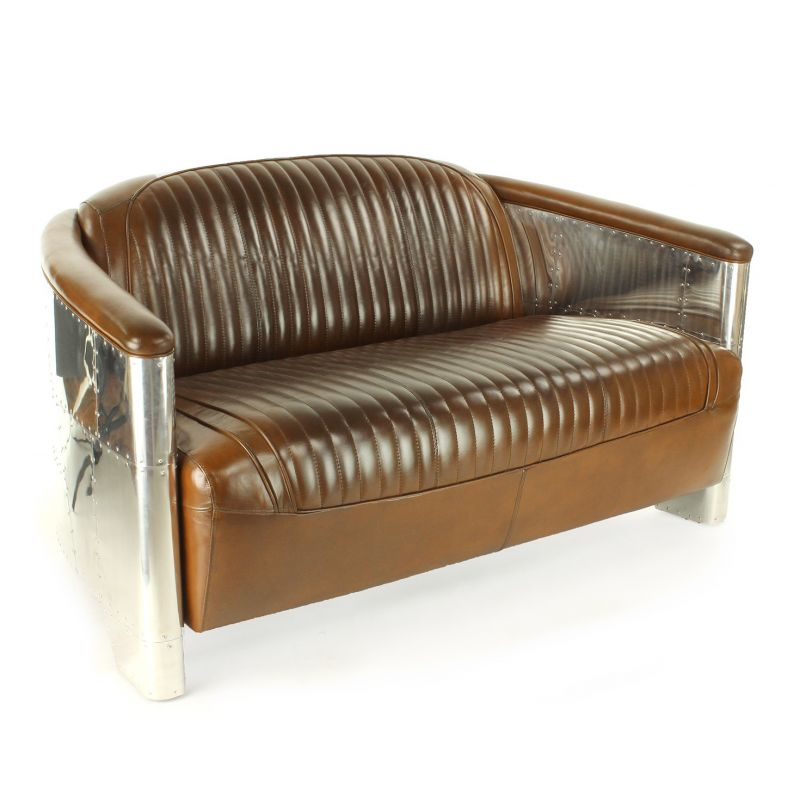 Vintage club sofa in brown leather - Aviator