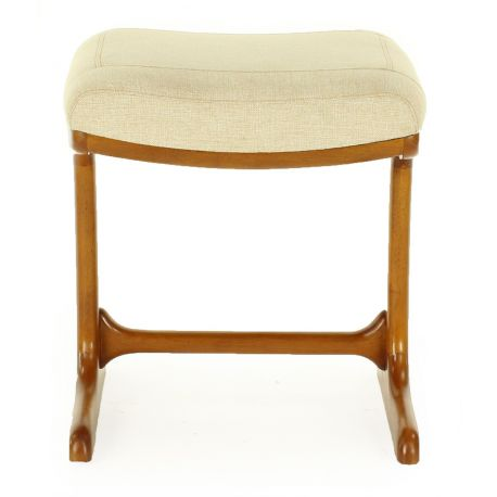 Wood and beige fabric stool - Ferdinand