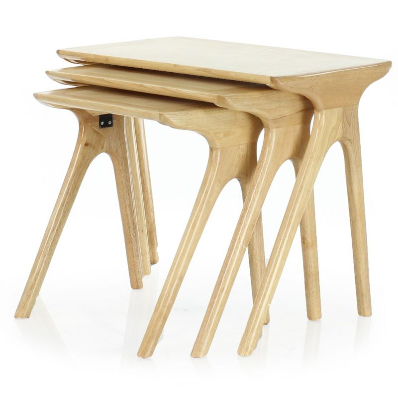 Table gigogne bois naturel lund scandinave saulaie for Table gigogne bois