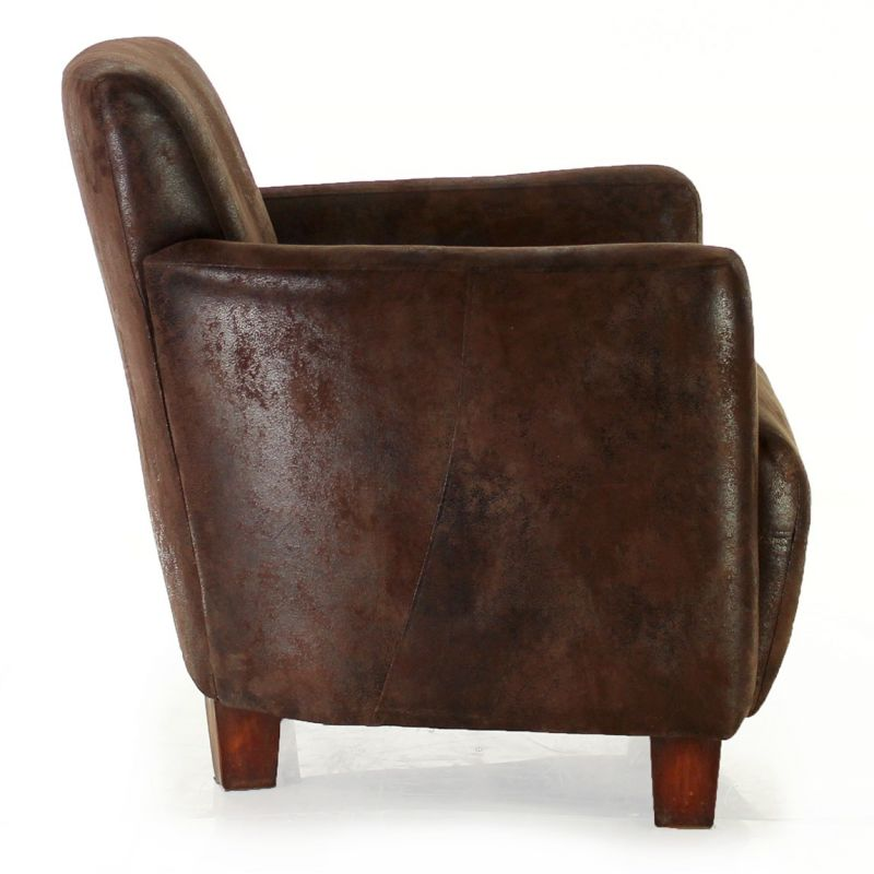 Chocolate fabric club armchair - Alma