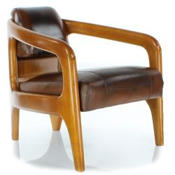 Vintage Brown Leather Armchair - Lund