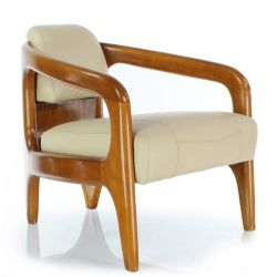 Beige leather armchair - Lund