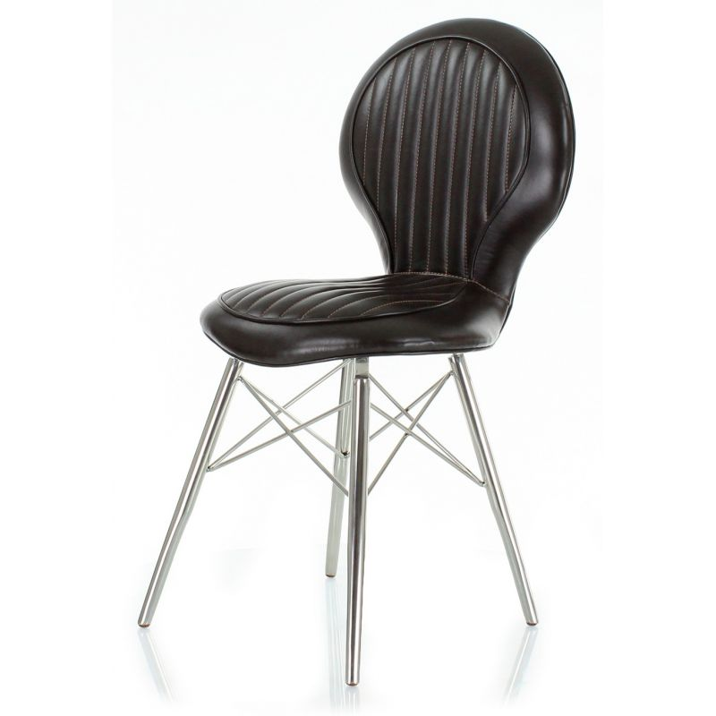 Design chair, alu and brown leather - Artis