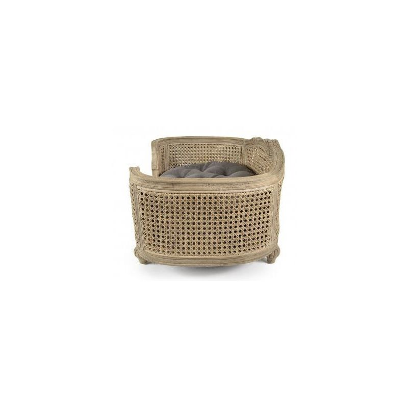 Cane dog basket, Louis XVI, taupe