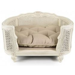 Cane dog basket, Louis XVI, off-white